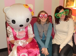 My friend did give me permission to post this ubersophisticated pic of us, but I neglected to ask Hello Kitty.